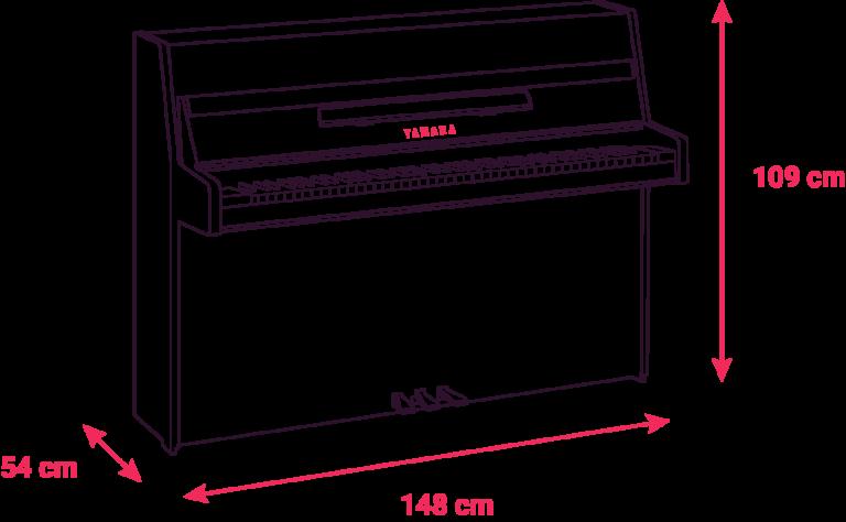 Schéma des dimensions du piano B1